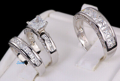 His and Hers 925 Sterling Silver Princess Cut Wedding Engagement Ring Set 4