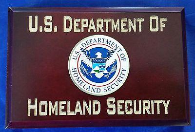 "US Department of Homeland Security w Eagle Emblem Walnut Wood 4""X6""X3/4"" Sign"