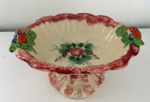 Vintage Porcelain Candy Trinket Pedestal Dish Rose Design Made in Japan 4Charity