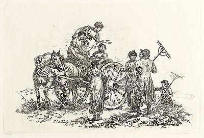 JULIUS CAESAR IBBETSON - SCHERZENDE LANDLEUTE - Radierung 1816