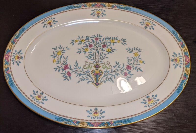 """Lenox Blue Tree Gold Trim & Backstamp HUGE 16"""" Oval Serving Platter"""