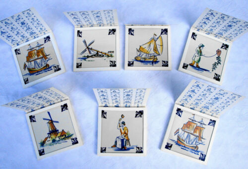 Set of 7 Delft Dutch Collectable Ceramic Tile Coasters by KLM