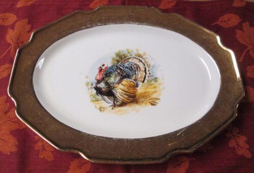 Vintage CREST O GOLD Thanksgiving Turkey Platter 22 K Gold Rim Vibrant Colors