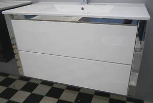 New ECT Niko White Gloss Chrome 900 Wall Hung Vanity Ceramic Top Melbourne CBD Melbourne City Preview