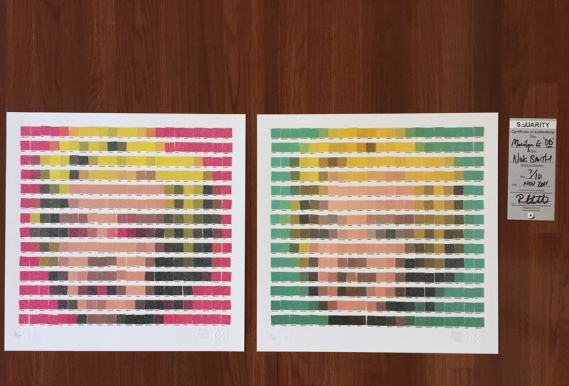 Nick Smith - Marilyn Pantone Diamond Dust 2 Prints - Andy Warhol Space Invader