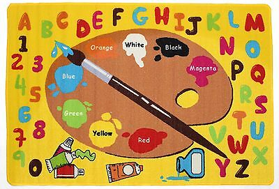 Learning Carpet Rug (Kids Rugs Alphabet Learning Carpet Area Rug Daycare Rug, Little Artist  All Size )