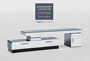 Black & White Gloss Entertainment Lowline TV Unit Stand - Extendable Glass Top