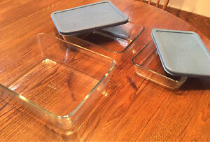 Three Matching Pyrex Ovenware