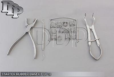 Basic Starter Rubber Dam Kit Of 16 Dental Surgical Instruments Ddp