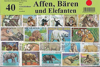 40  Briefmarken, Affen,Bären, Elfanten,monkey,bear,elephant,Eisbär,Wildtiere