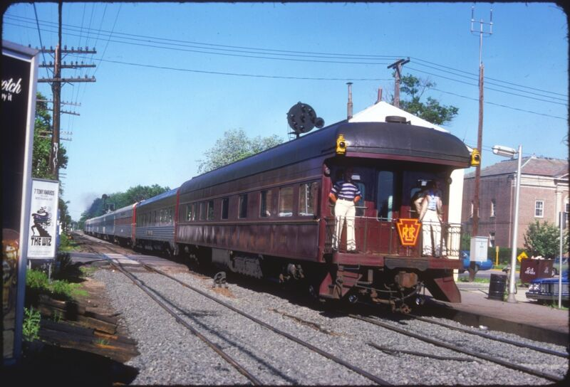 LIRR PRR LONG ISLAND RAIL ROAD PRIVATE OBS CAR 120 PASSING PD TOWER PATCHOGUE NY