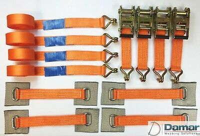 Trailer car transporter recovery wheel straps orange x4