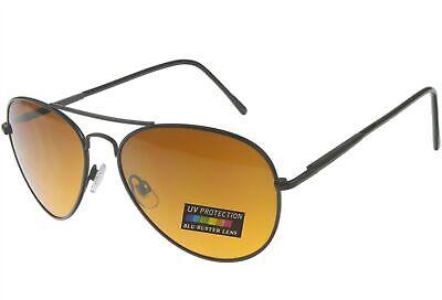 Sunglasses for Men Women Blu Buster Driving Pilot Aviator Spring Hinge Black