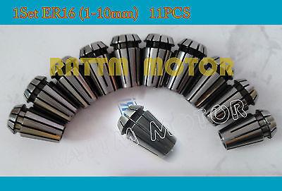 Er16 Spring Spindle Collet Set 11pcs For Cnc Milling Lathe Tool Engraving 1-10mm
