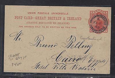 BRITISH LEVANT, TURKEY  (P1708B)  GB QV 1P PSC TO EGYPT 1895 WITH MSG