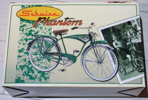 NIB SCHWINN GREEN PHANTOM 1:6 DIE CAST BALLOON TIRE BICYCLE W/LTD ED BEAR & W/CA