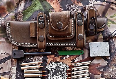 CFK USA Handmade Horizontal Leather Knife Blade Knives Sheath & Fire Starter Set