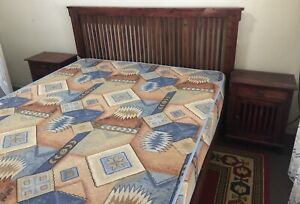 Timber Queen bed with bedside tables