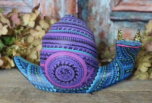 Alebrije Snail Intricately Hand Painted Carved Handmade Mexican Folk Art Oaxaca