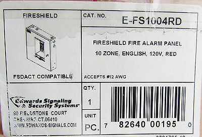 Edwards Utc Fire Shield Fire Alarm Panel 120v Red 10 Zone English E Fs1004rd