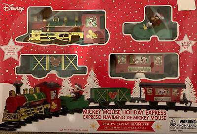 DISNEY Mickey Mouse Holiday Express 12 Piece Christmas Train Set