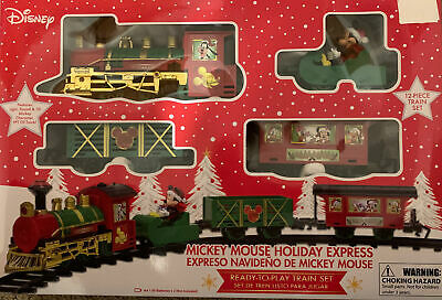 DISNEY Mickey Mouse Holiday Express 12 Piece Christmas Train Set - SHIPS FAST