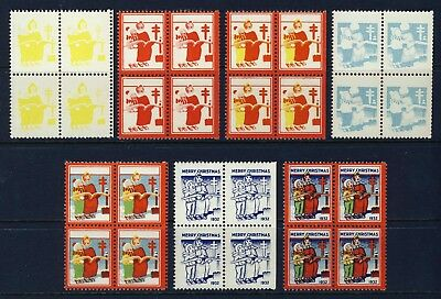 1932 USA Christmas Seal Progressive Proofs BLOCKS (7) . Mint Never Hinged