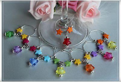 Glasmarker Sterne Twinkle Stars Party Gastgeschenk Schmuck Charm 6er Set ()