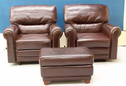Genuine Leather Lounge MORAN RECLINER CHAIRS WITH OTTOMAN