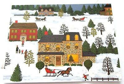 Vintage Christmas Card Old Fashioned Snowy Christmas Scenes Stone House Sleighs  ()
