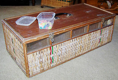 Old Belgium Wicker Racing Homing Pigeon 5 Bird Vtg Carrier Crate Cage Transport