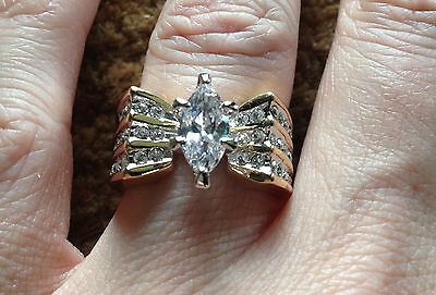 Free Shipping Solitaire Cz Cocktail Fashion Costume Ring Yellow Gold Size 5 7