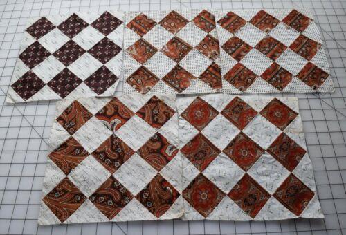 9300  5 Antique 1870s Philadelphia Pavement quilt blocks, madder prints!