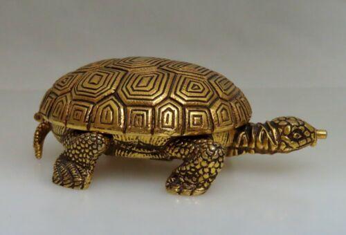 Vintage Swiss Looping Gold Tone Metal Turtle Tortoise 8Day Alarm Clock - 80894