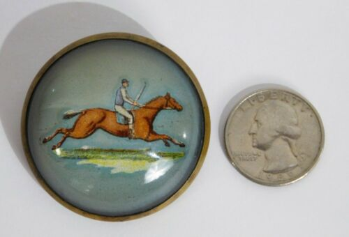Old Reverse Painted Glass Intaglio Essex Crystal Horse Jockey Bridle Pin Rosette