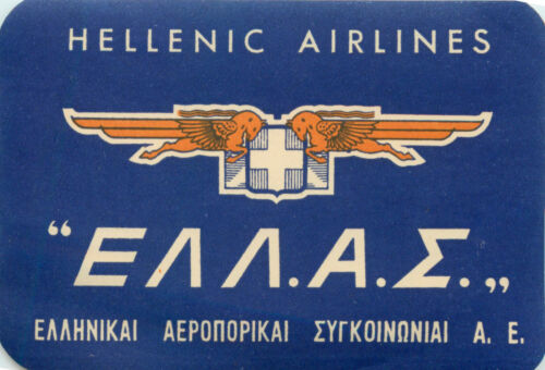 HELLENIC AIRLINES ~GREECE~ Great Old Airline Luggage Label, c. 1950