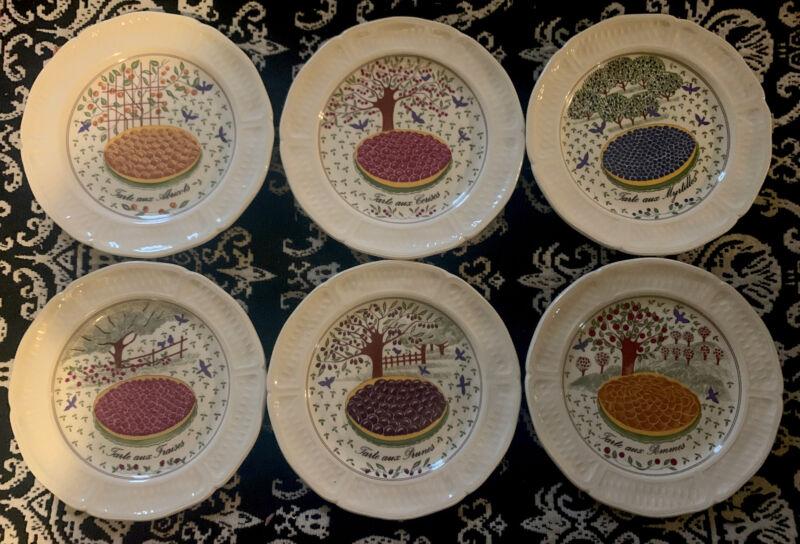 """6 GIEN France Fruit LES TARTES Pie Dessert Cocktail Plates 6 1/4"""""""