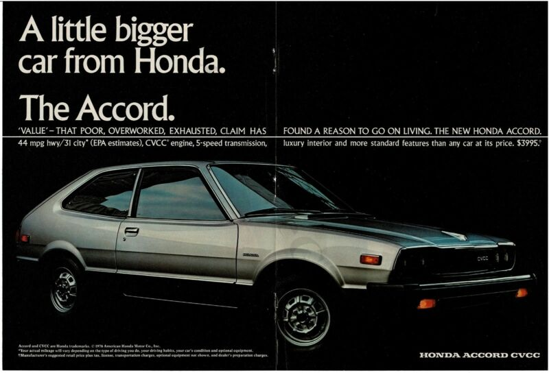 1976 HONDA ACCORD Prism Silver Hatchback Centerfold Vintage Print Ad