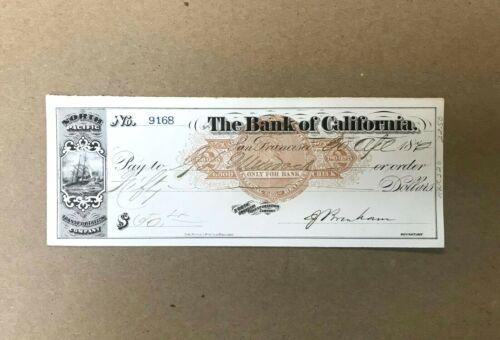 1872 San Francisco, The Bank of California Obsolete Bank Check