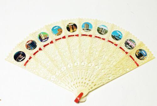 "Vintage 9"" Las Vegas Folding Fan - Plastic"