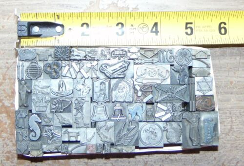 Printing Letterpress Printers Block Lot of All Lead Pieces