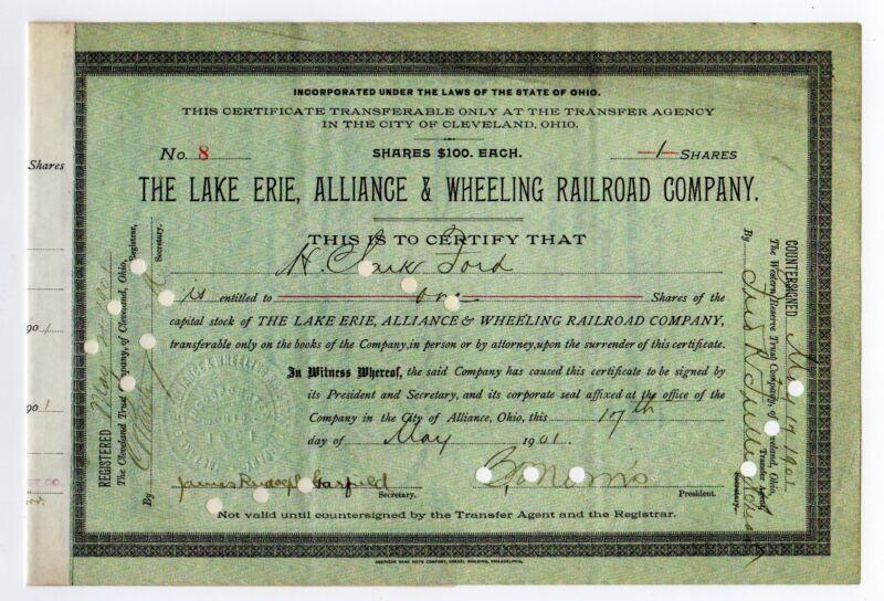 The Lake Erie, Alliance & Wheeling Railroad Co. - James Rudolph Garfield