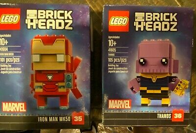 LEGO Marvel Avengers Super Heroes BrickHeadz 41604 41605 - NISB LOT of 2