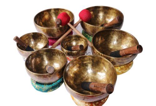 Khusi hand-hammered Seven chakra healing Tibetan Singing bowl set.