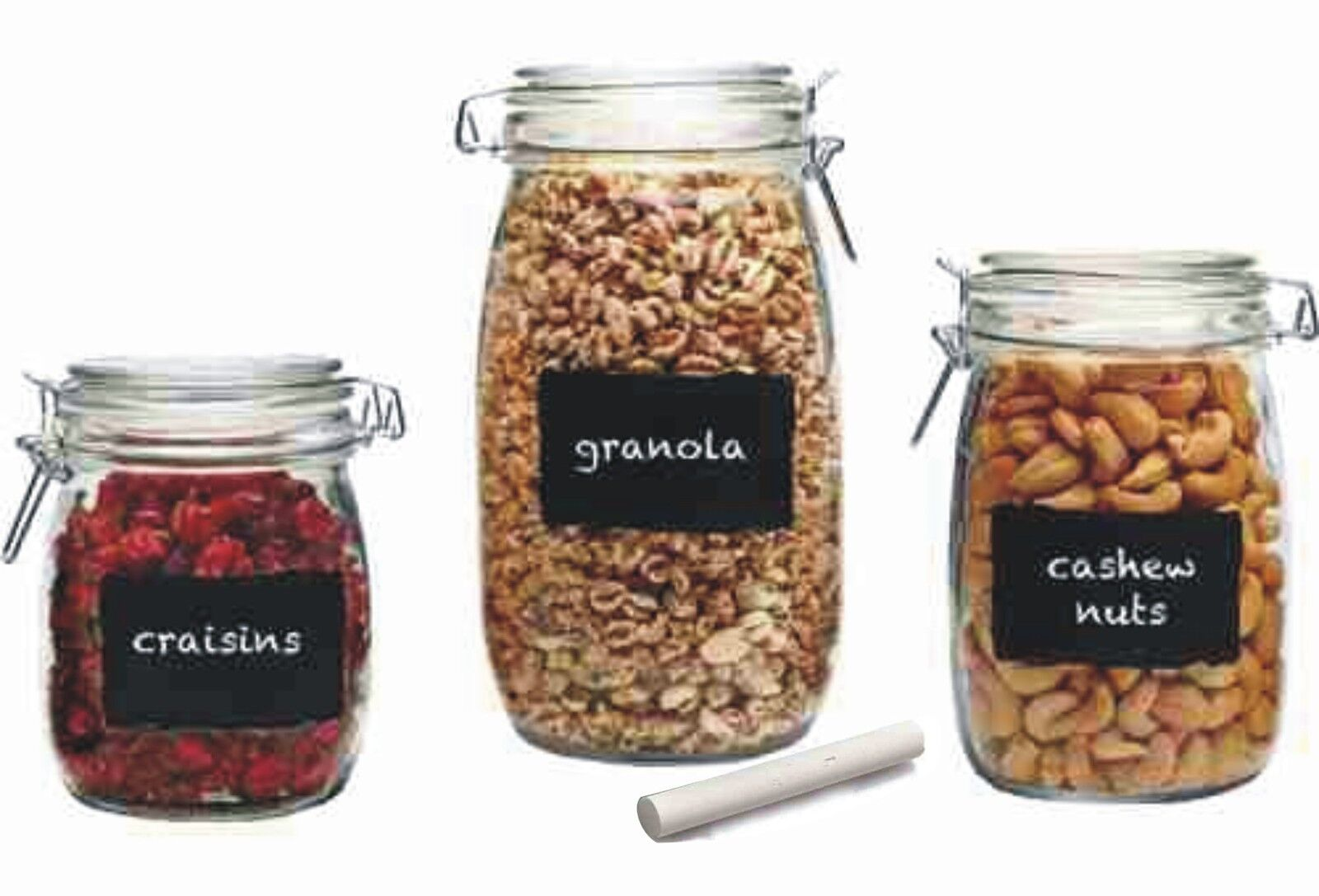 Chalk It Up Hermetic Glass Food Jar 3 PC Canister Set w Chalk Labels paypal