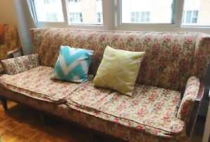 Retro floral couch and chair set