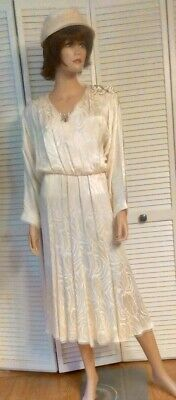 Fisherman Halloween Costume Women (VTG white satin dress w/sequins downton abbey gatsby orient express miss)