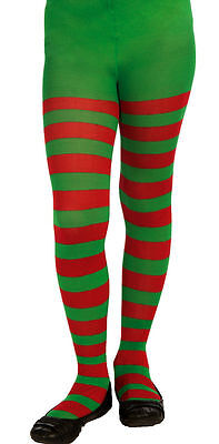 Child Size Red and Green Striped Tights Christmas Elf  Girls Size Large 12-14 (Red And Green Elf Tights)