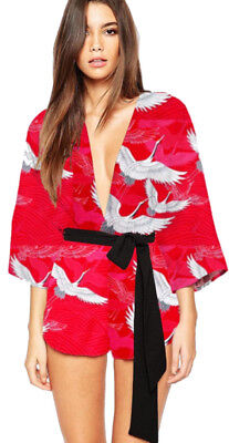 Red Geisha Girl Costume Japanese Oriental Chinese Ladies Fancy Dress Outfit (Geisha Outfits)