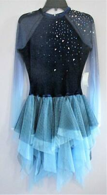 NWT SKATE DANCE BATON CrissCross Camisole Dress Front Backlined Peacock blue